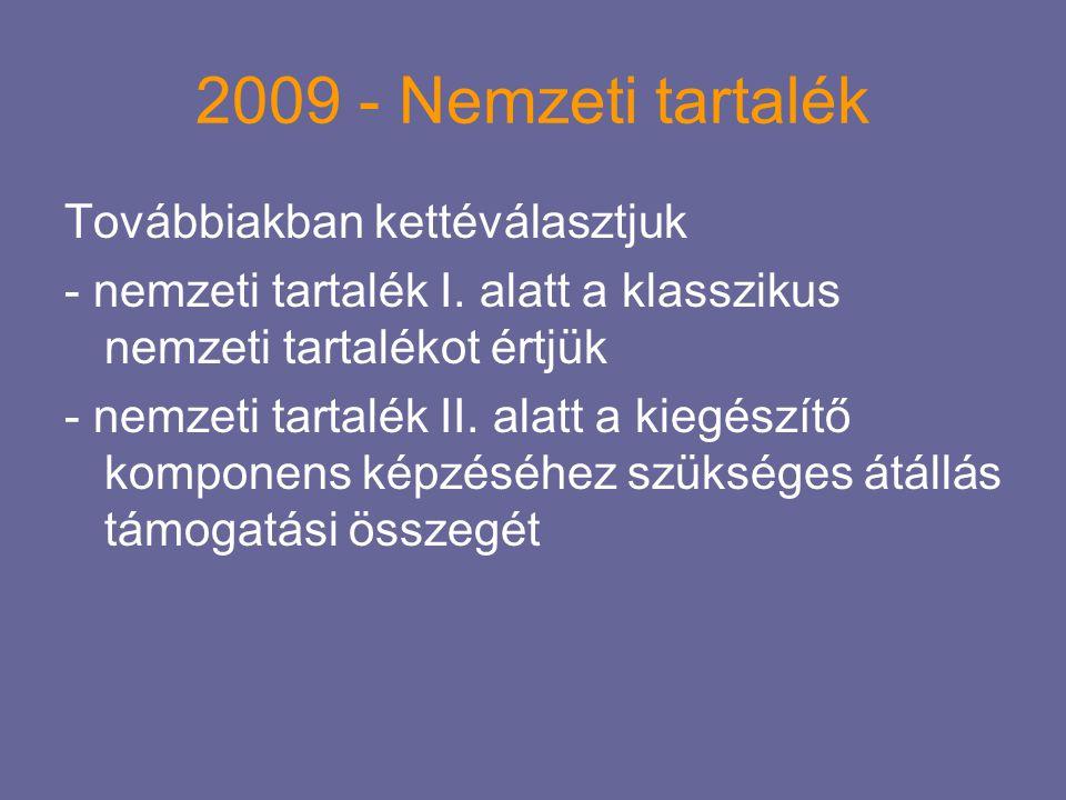 2009 - Nemzeti tartalék Továbbiakban kettéválasztjuk