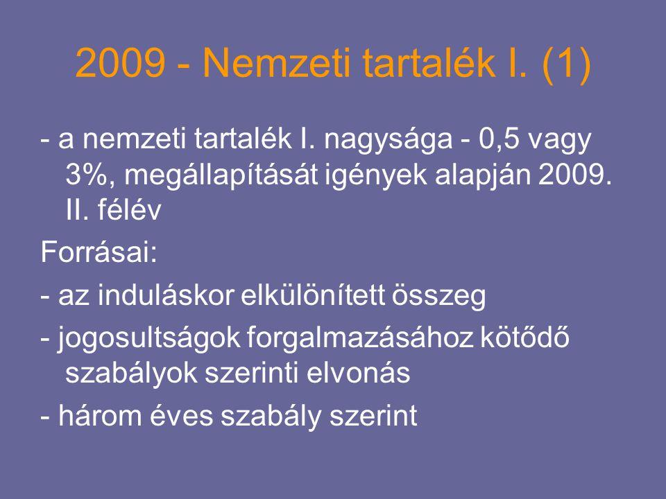 2009 - Nemzeti tartalék I. (1) - a nemzeti tartalék I. nagysága - 0,5 vagy 3%, megállapítását igények alapján 2009. II. félév.
