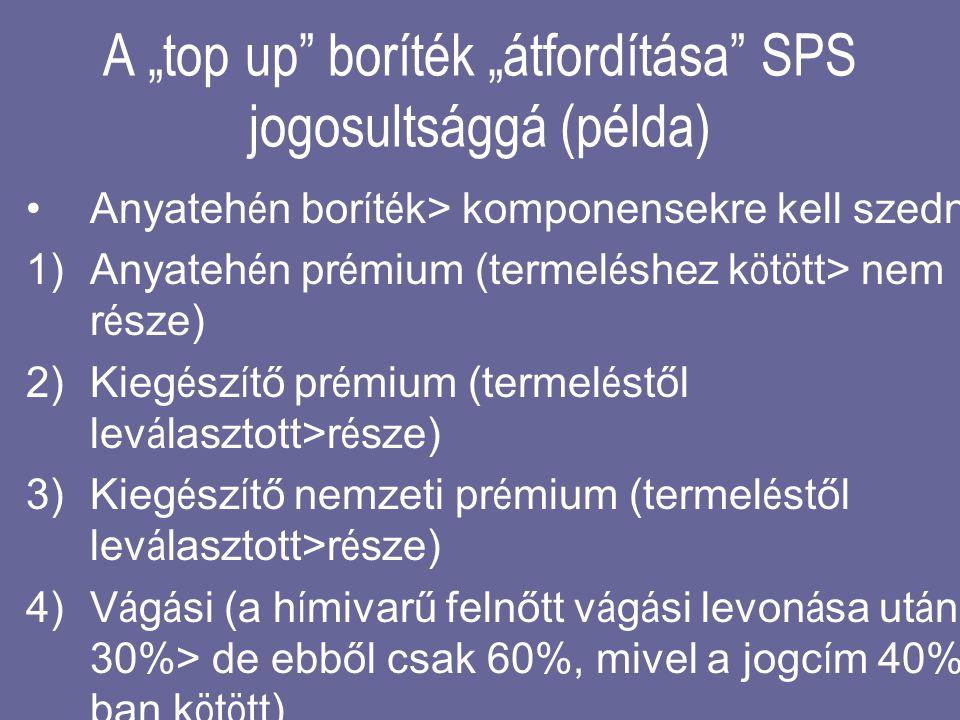 """A """"top up boríték """"átfordítása SPS jogosultsággá (példa)"""