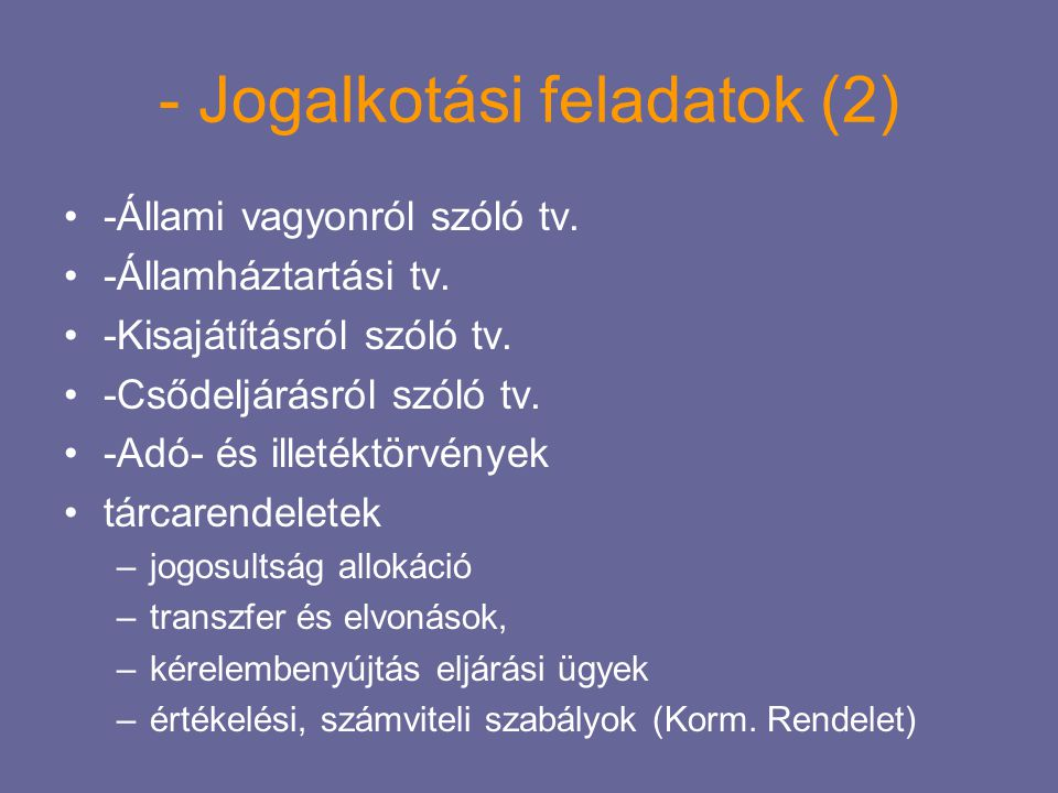 - Jogalkotási feladatok (2)