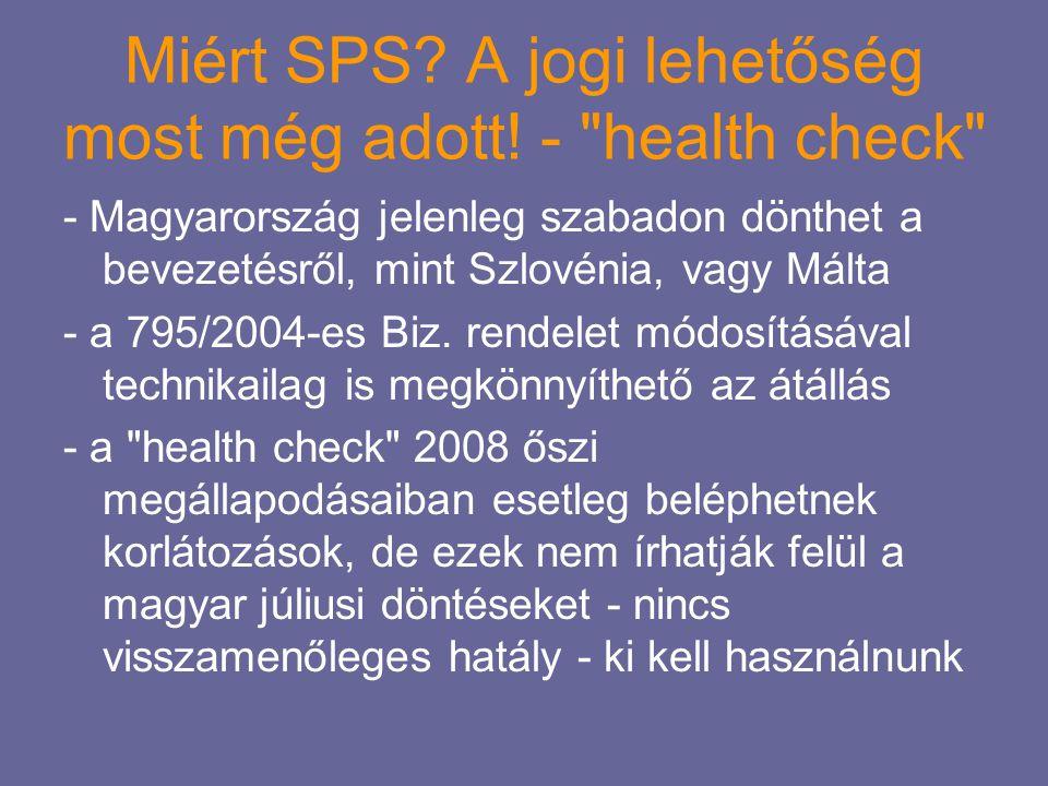 Miért SPS A jogi lehetőség most még adott! - health check