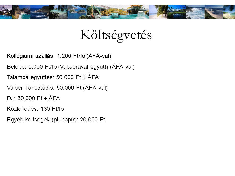 Költségvetés Kollégiumi szállás: 1.200 Ft/fő (ÁFÁ-val)