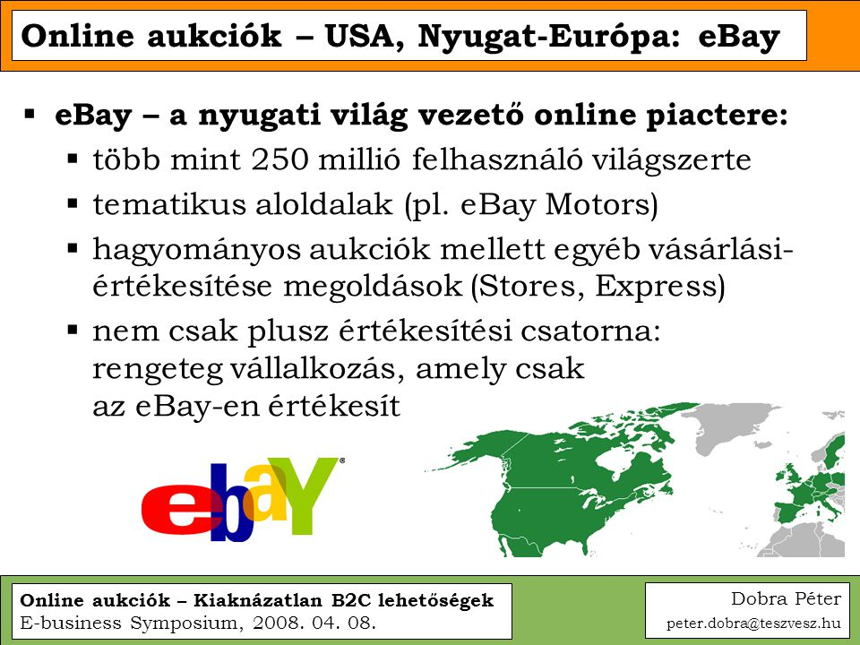 Online aukciók – USA, Nyugat-Európa: eBay