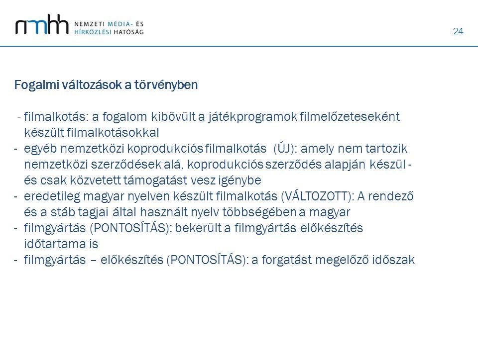 Fogalmi változások a törvényben - filmalkotás: a fogalom kibővült a játékprogramok filmelőzeteseként készült filmalkotásokkal - egyéb nemzetközi koprodukciós filmalkotás (ÚJ): amely nem tartozik nemzetközi szerződések alá, koprodukciós szerződés alapján készül - és csak közvetett támogatást vesz igénybe - eredetileg magyar nyelven készült filmalkotás (VÁLTOZOTT): A rendező és a stáb tagjai által használt nyelv többségében a magyar - filmgyártás (PONTOSÍTÁS): bekerült a filmgyártás előkészítés időtartama is - filmgyártás – előkészítés (PONTOSÍTÁS): a forgatást megelőző időszak