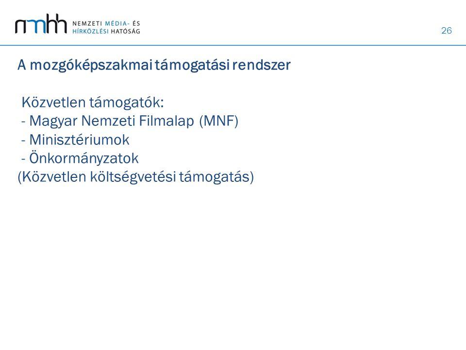 A mozgóképszakmai támogatási rendszer Közvetlen támogatók: - Magyar Nemzeti Filmalap (MNF) - Minisztériumok - Önkormányzatok (Közvetlen költségvetési támogatás)
