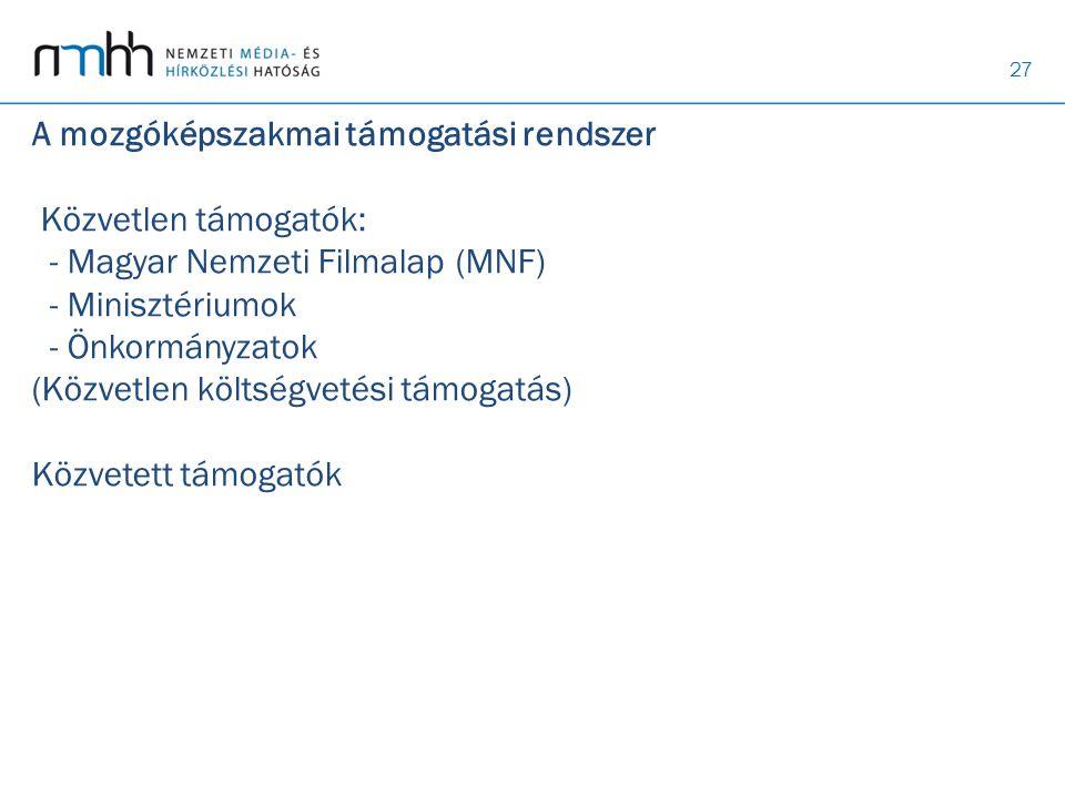 A mozgóképszakmai támogatási rendszer Közvetlen támogatók: - Magyar Nemzeti Filmalap (MNF) - Minisztériumok - Önkormányzatok (Közvetlen költségvetési támogatás) Közvetett támogatók
