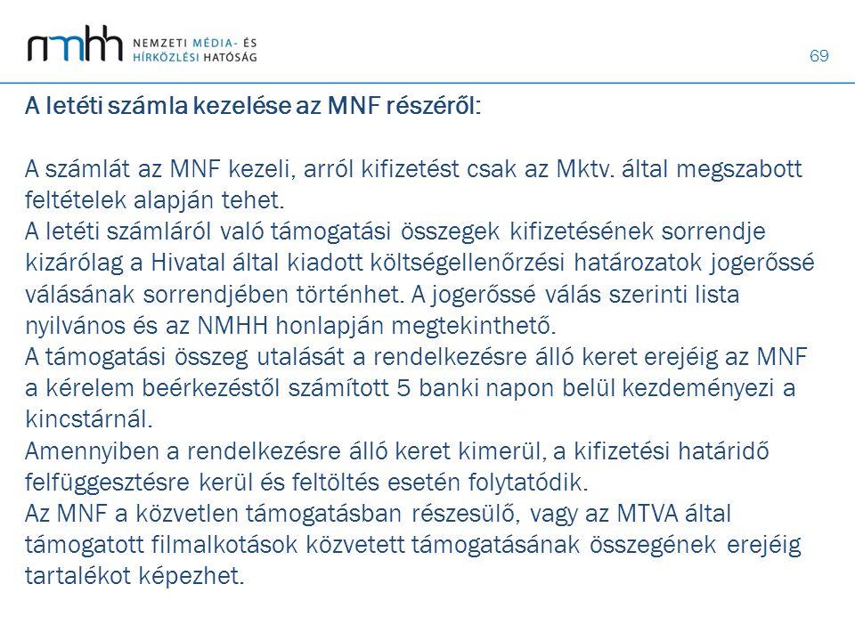 A letéti számla kezelése az MNF részéről: A számlát az MNF kezeli, arról kifizetést csak az Mktv.