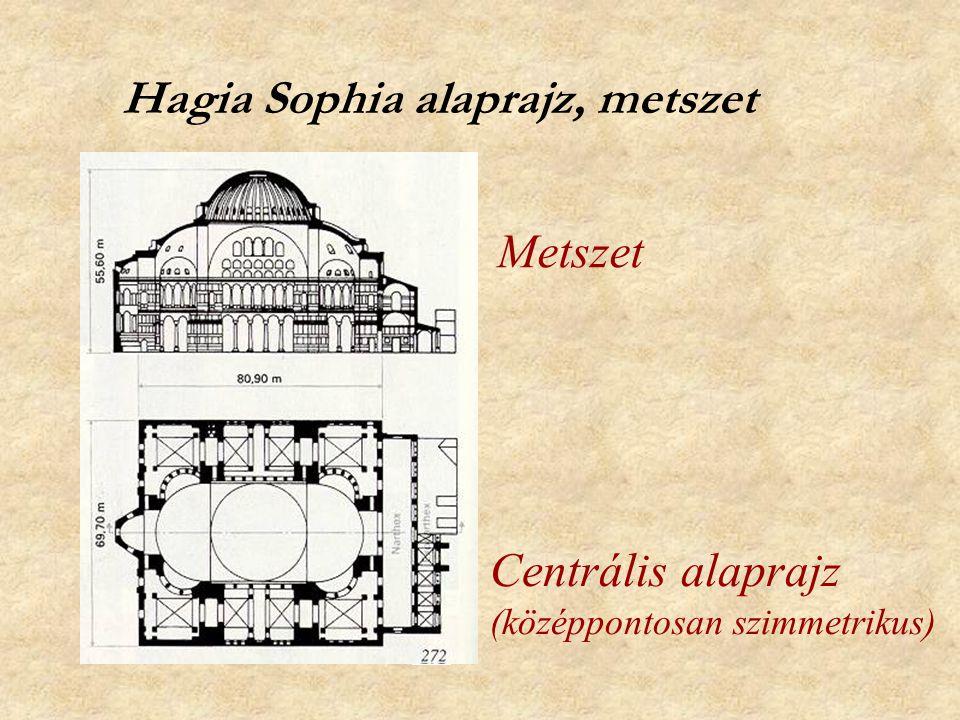 Hagia Sophia alaprajz, metszet