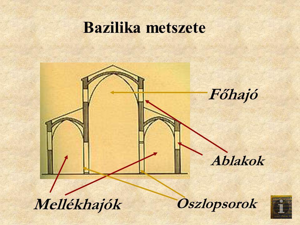 Bazilika metszete Főhajó Ablakok Mellékhajók Oszlopsorok