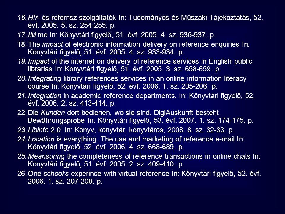 Hír- és refernsz szolgáltatók In: Tudományos és Műszaki Tájékoztatás, 52. évf. 2005. 5. sz. 254-255. p.