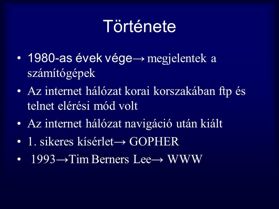 Története 1980-as évek vége→ megjelentek a számítógépek