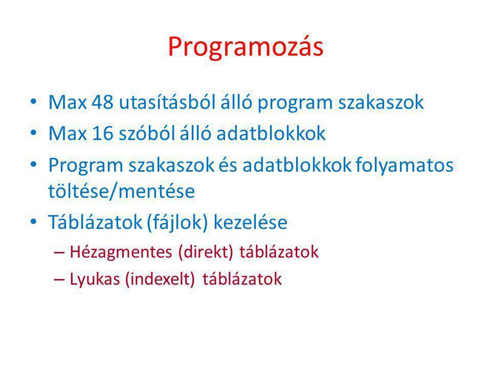 Programozás Max 48 utasításból álló program szakaszok