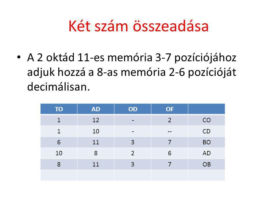 Két szám összeadása A 2 oktád 11-es memória 3-7 pozíciójához adjuk hozzá a 8-as memória 2-6 pozícióját decimálisan.
