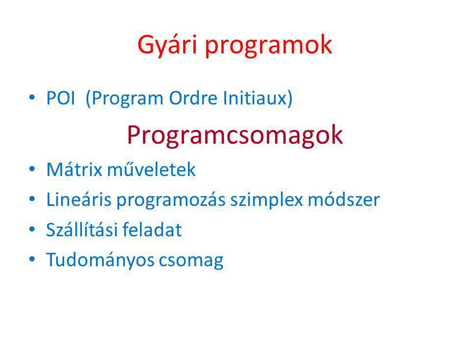 Gyári programok Programcsomagok POI (Program Ordre Initiaux)