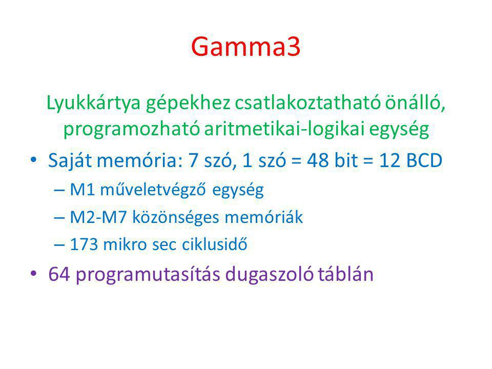 Gamma3 Lyukkártya gépekhez csatlakoztatható önálló, programozható aritmetikai-logikai egység. Saját memória: 7 szó, 1 szó = 48 bit = 12 BCD.