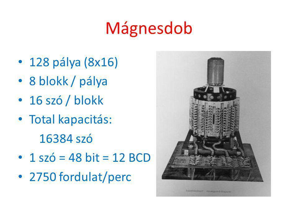 Mágnesdob 128 pálya (8x16) 8 blokk / pálya 16 szó / blokk