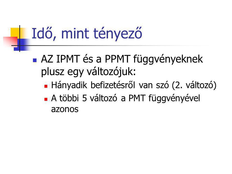 Idő, mint tényező AZ IPMT és a PPMT függvényeknek plusz egy változójuk: Hányadik befizetésről van szó (2. változó)