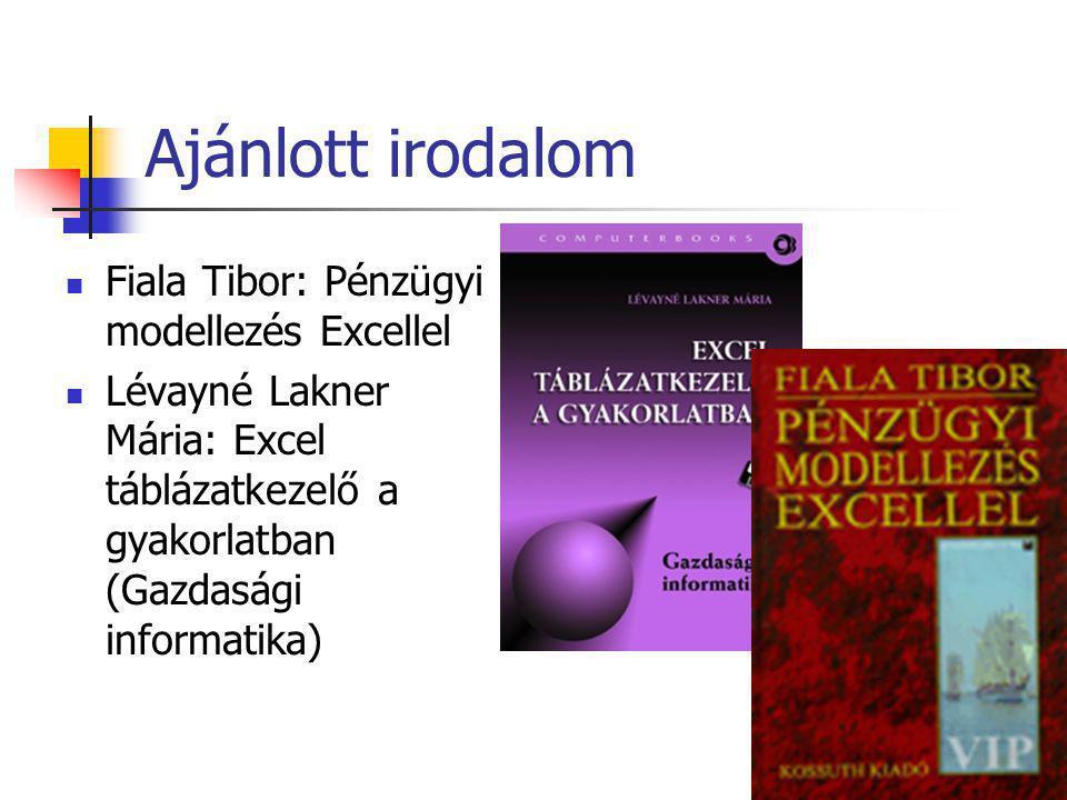 Ajánlott irodalom Fiala Tibor: Pénzügyi modellezés Excellel