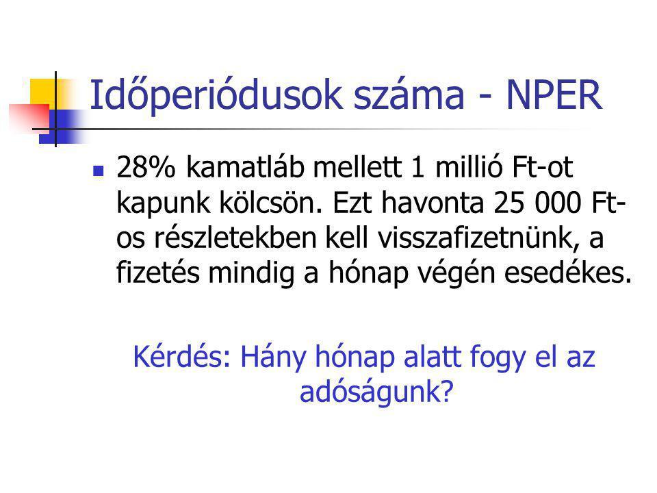 Időperiódusok száma - NPER