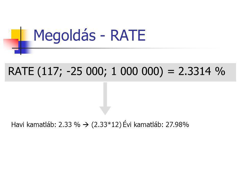 Megoldás - RATE RATE (117; -25 000; 1 000 000) = 2.3314 %