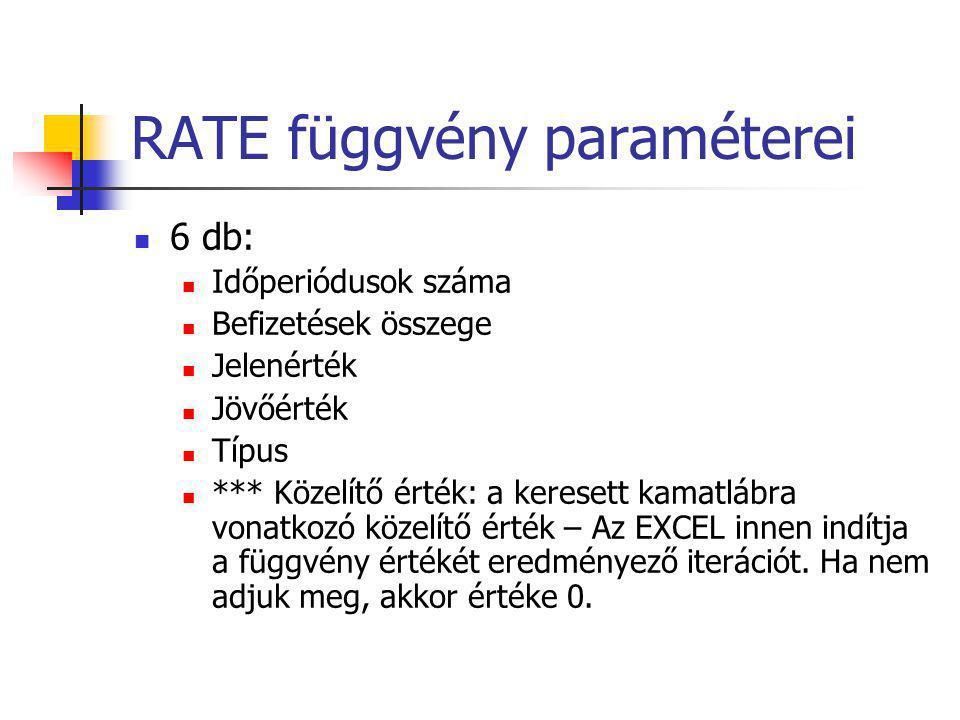 RATE függvény paraméterei