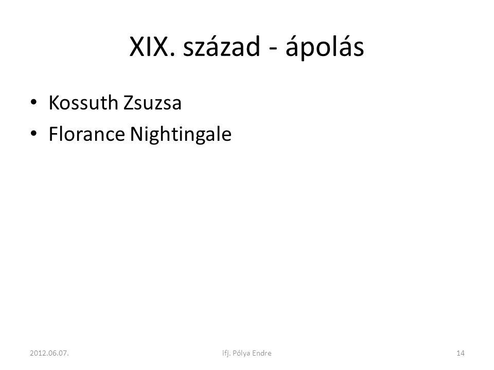 XIX. század - ápolás Kossuth Zsuzsa Florance Nightingale 2012.06.07.