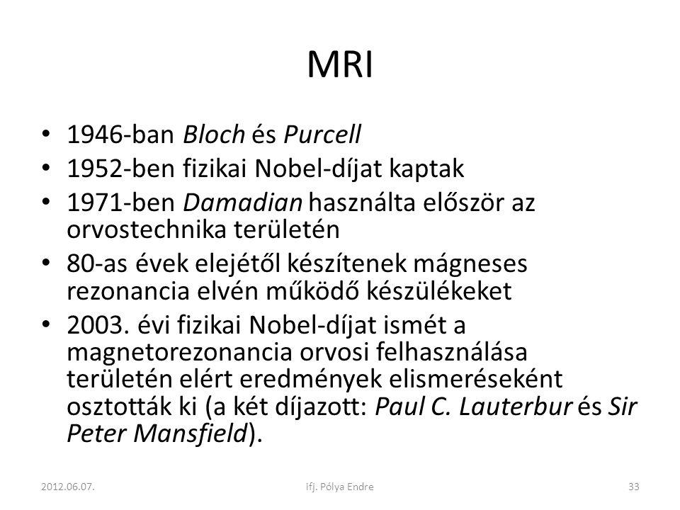 MRI 1946-ban Bloch és Purcell 1952-ben fizikai Nobel-díjat kaptak