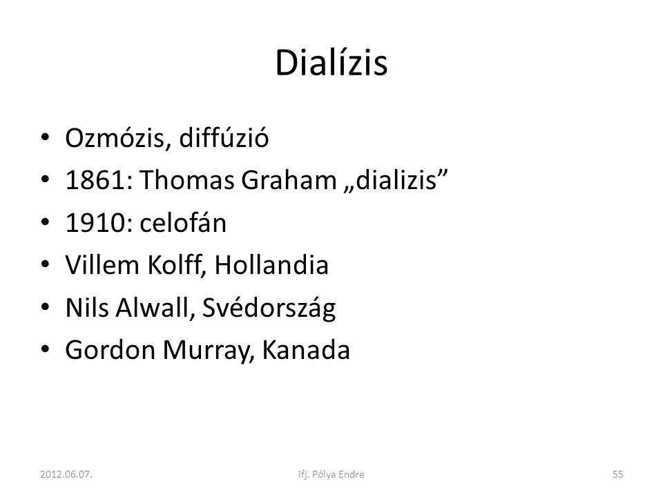 """Dialízis Ozmózis, diffúzió 1861: Thomas Graham """"dializis"""
