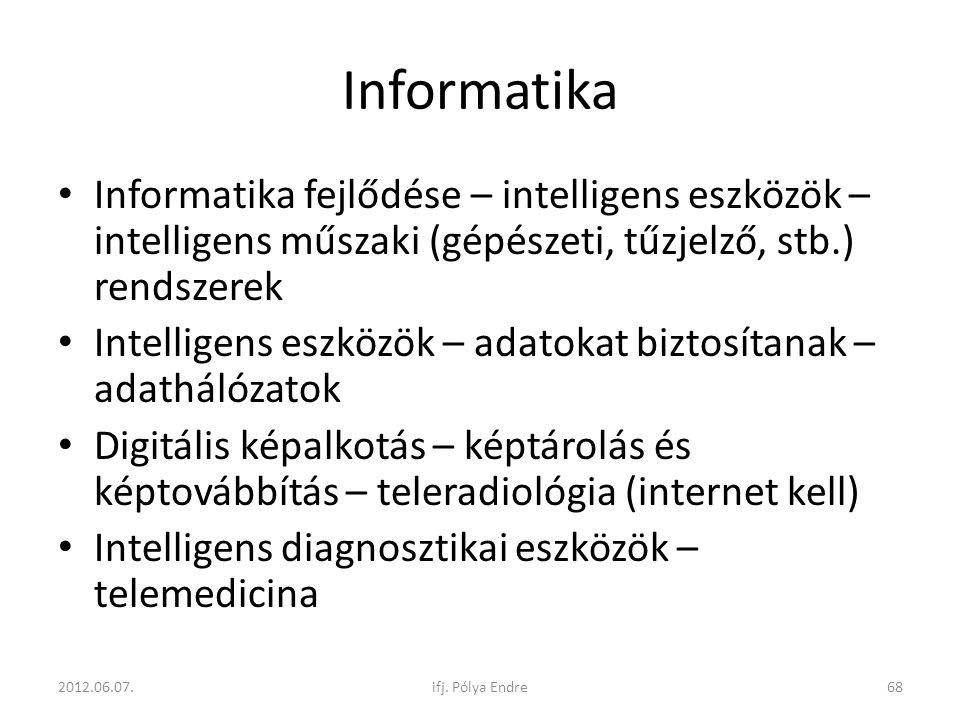 Informatika Informatika fejlődése – intelligens eszközök – intelligens műszaki (gépészeti, tűzjelző, stb.) rendszerek.