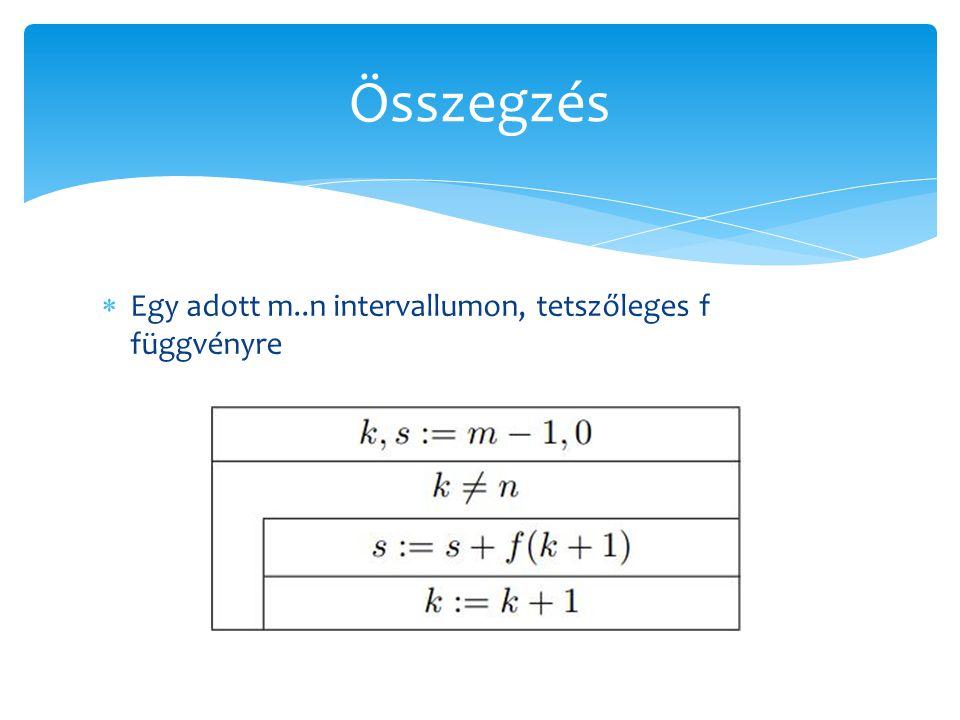 Összegzés Egy adott m..n intervallumon, tetszőleges f függvényre