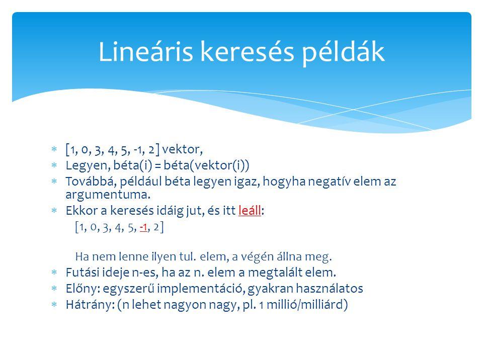 Lineáris keresés példák