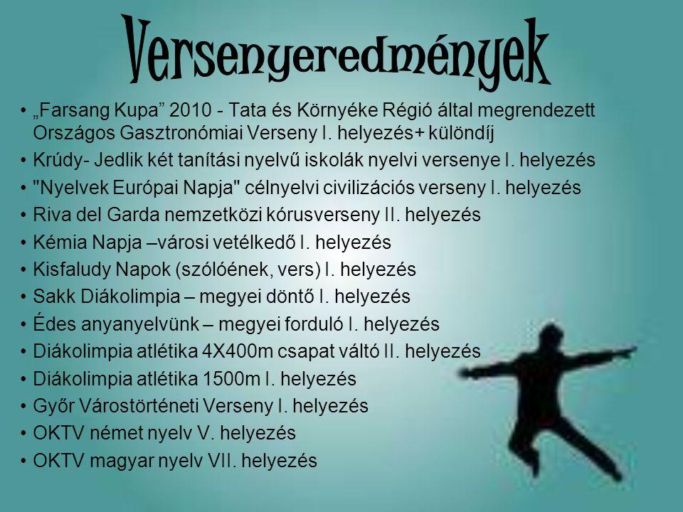 """Versenyeredmények """"Farsang Kupa 2010 - Tata és Környéke Régió által megrendezett Országos Gasztronómiai Verseny I. helyezés+ különdíj."""