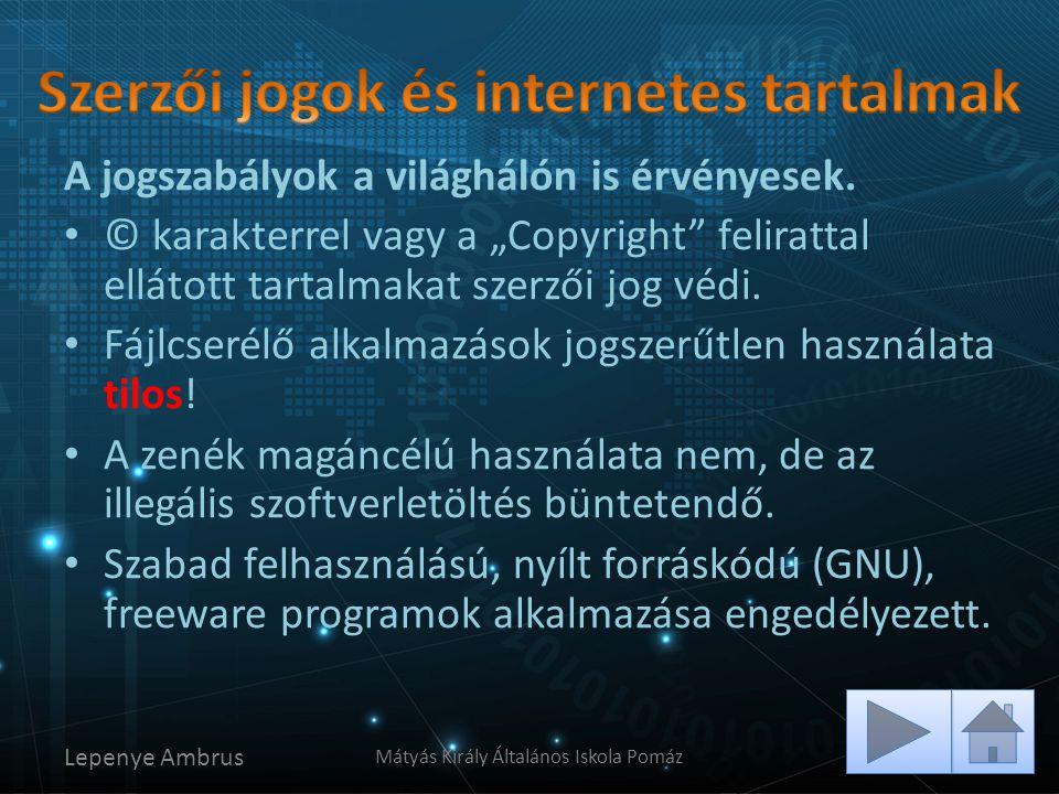 Szerzői jogok és internetes tartalmak