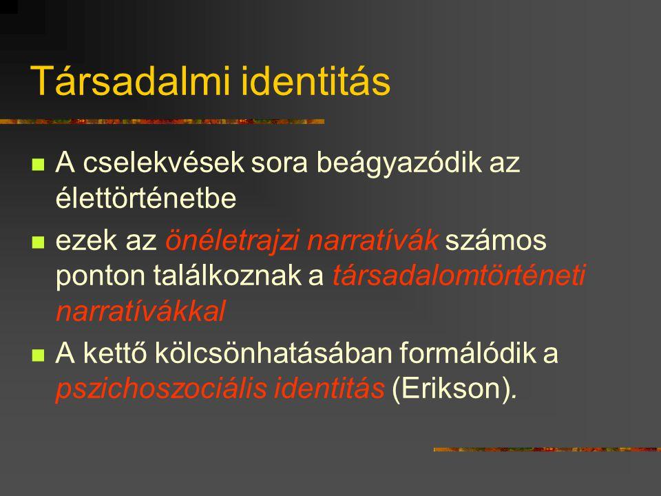 Társadalmi identitás A cselekvések sora beágyazódik az élettörténetbe