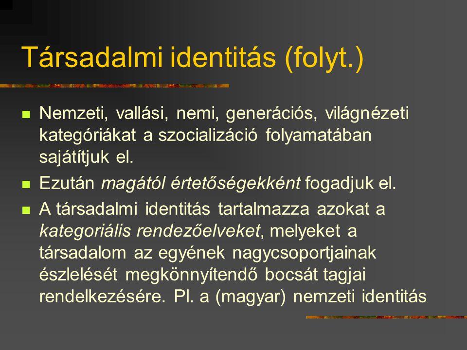 Társadalmi identitás (folyt.)