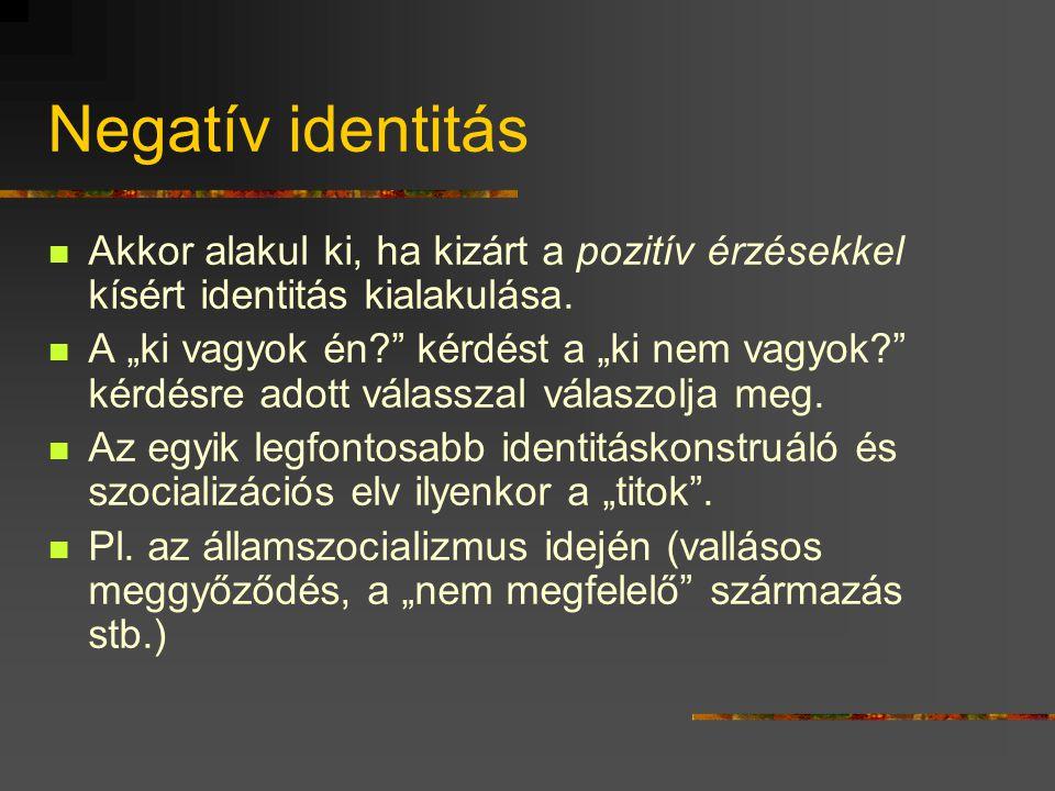 Negatív identitás Akkor alakul ki, ha kizárt a pozitív érzésekkel kísért identitás kialakulása.