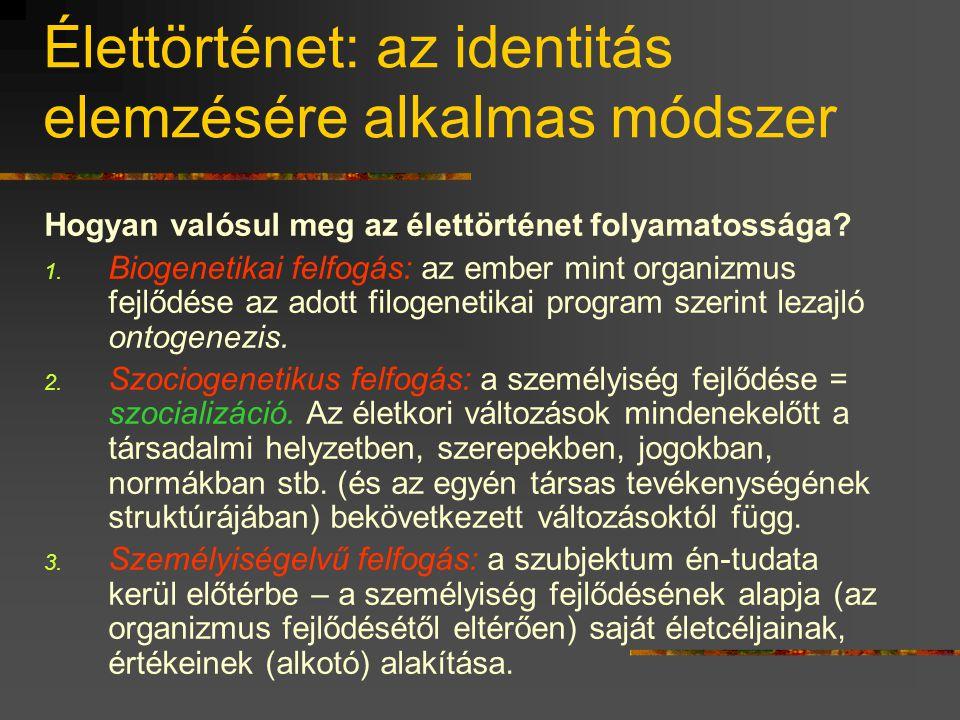 Élettörténet: az identitás elemzésére alkalmas módszer