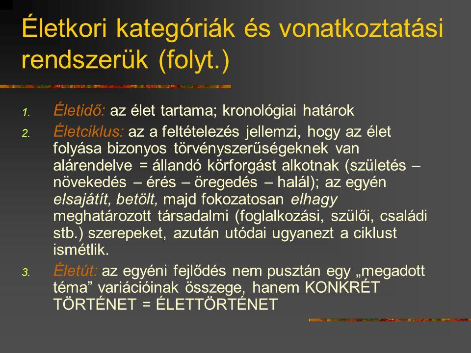 Életkori kategóriák és vonatkoztatási rendszerük (folyt.)