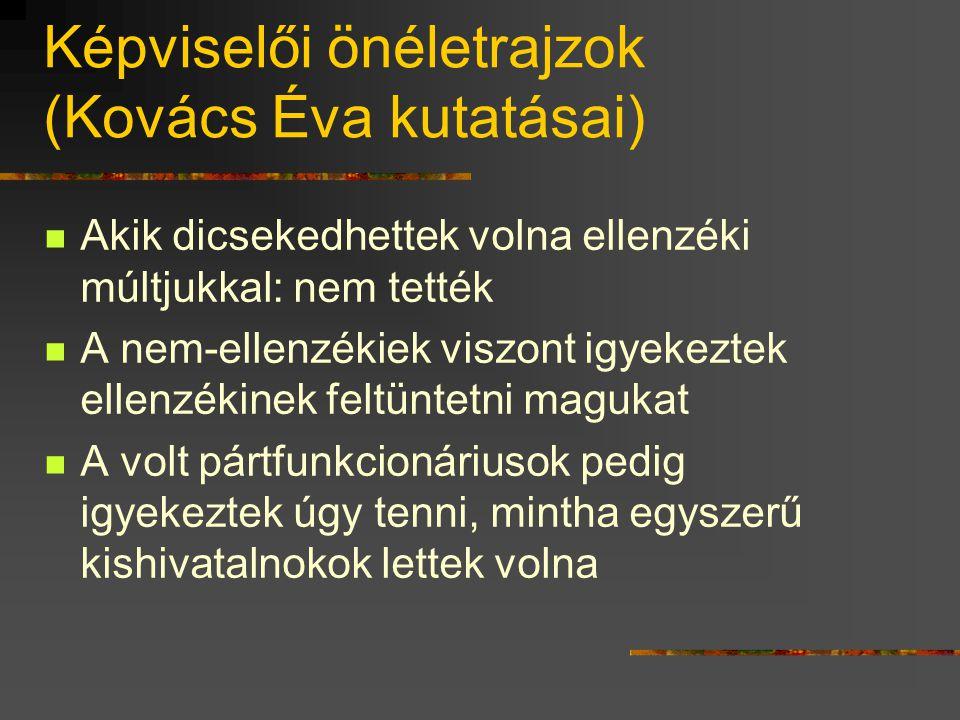 Képviselői önéletrajzok (Kovács Éva kutatásai)