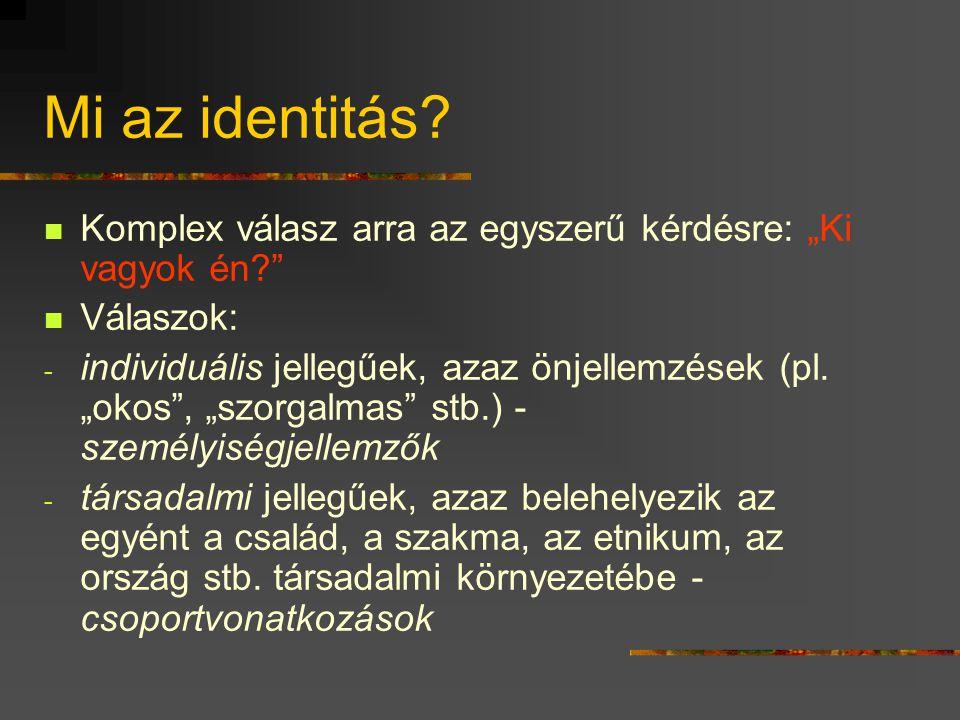 """Mi az identitás Komplex válasz arra az egyszerű kérdésre: """"Ki vagyok én Válaszok:"""