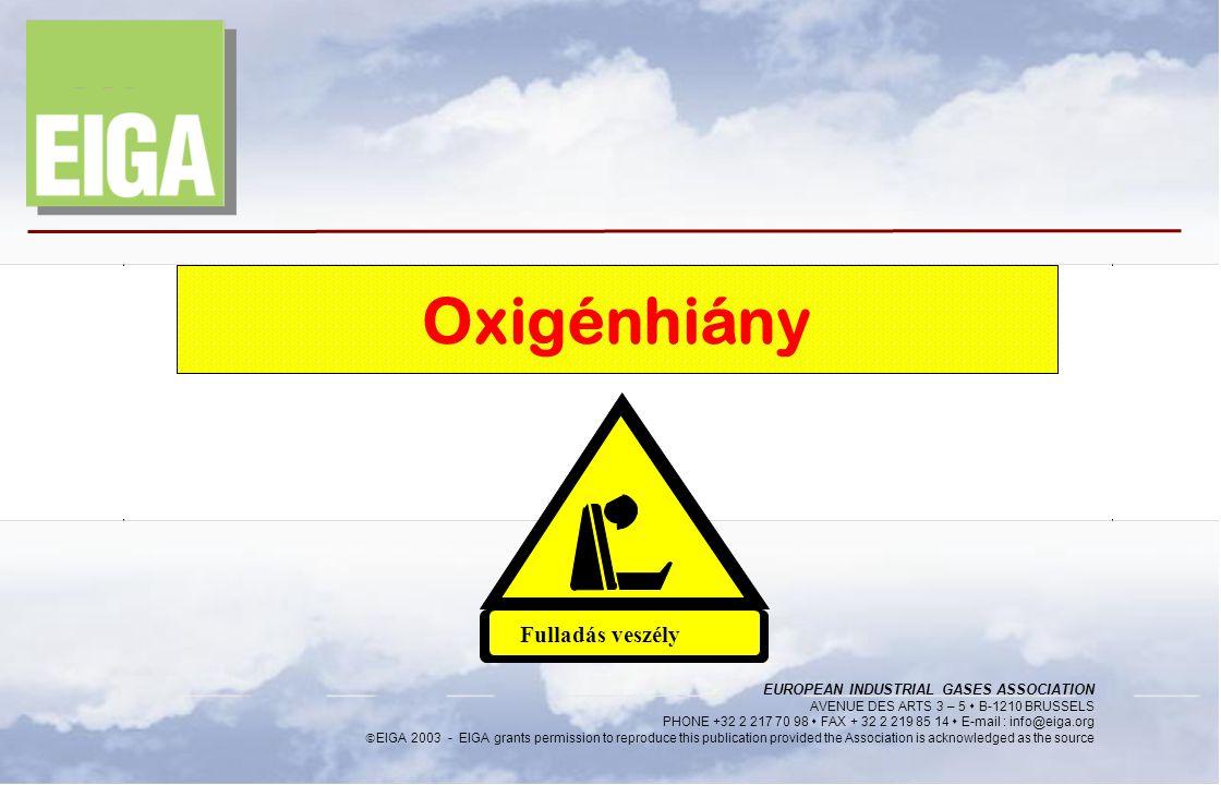Oxigénhiány Fulladás veszély EUROPEAN INDUSTRIAL GASES ASSOCIATION 1