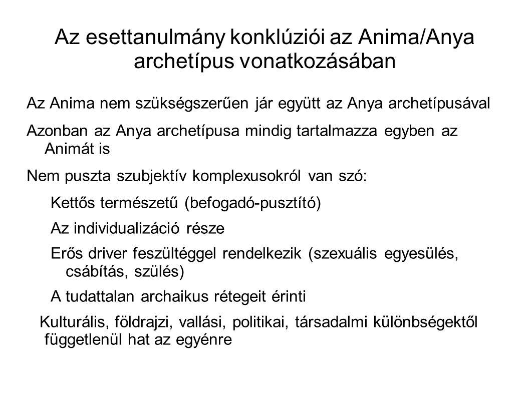 Az esettanulmány konklúziói az Anima/Anya archetípus vonatkozásában