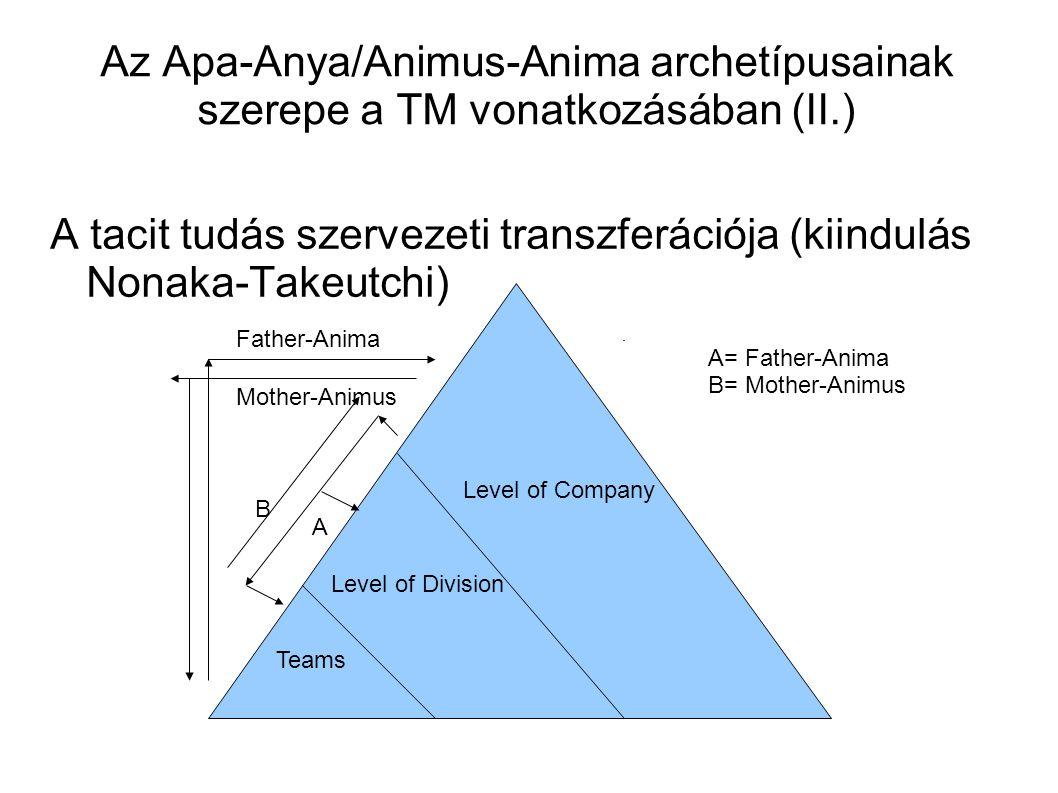 A tacit tudás szervezeti transzferációja (kiindulás Nonaka-Takeutchi)