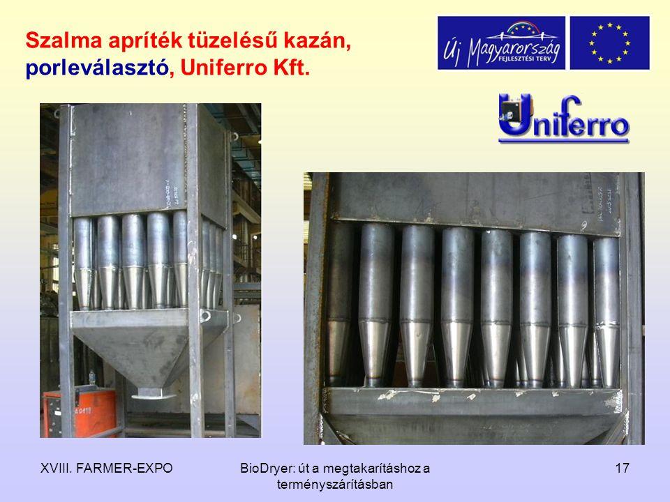 Szalma apríték tüzelésű kazán, porleválasztó, Uniferro Kft.