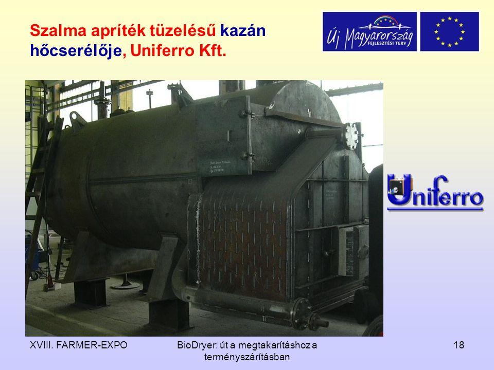 Szalma apríték tüzelésű kazán hőcserélője, Uniferro Kft.