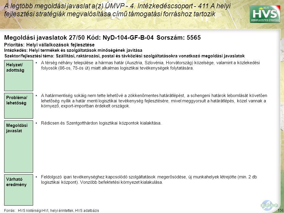Megoldási javaslatok 27/50 Kód: NyD-104-GF-B-04 Sorszám: 5565