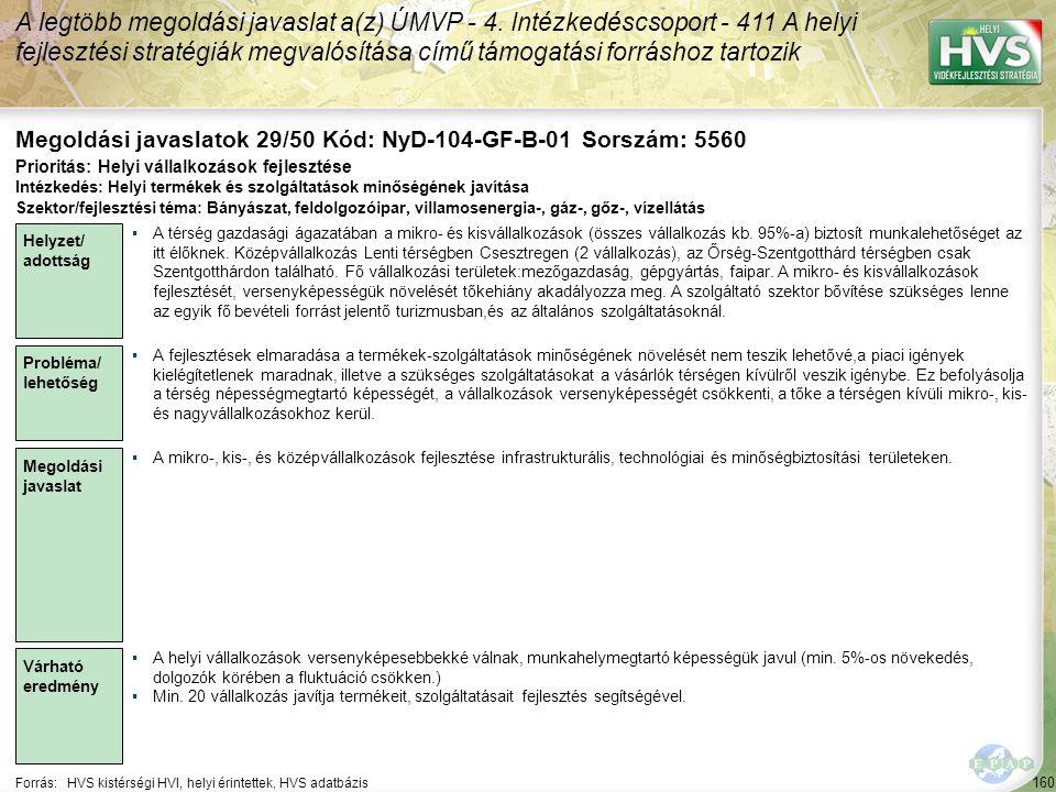 Megoldási javaslatok 29/50 Kód: NyD-104-GF-B-01 Sorszám: 5560