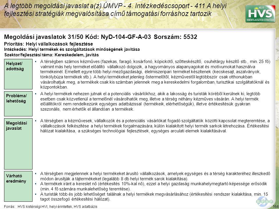 Megoldási javaslatok 31/50 Kód: NyD-104-GF-A-03 Sorszám: 5532