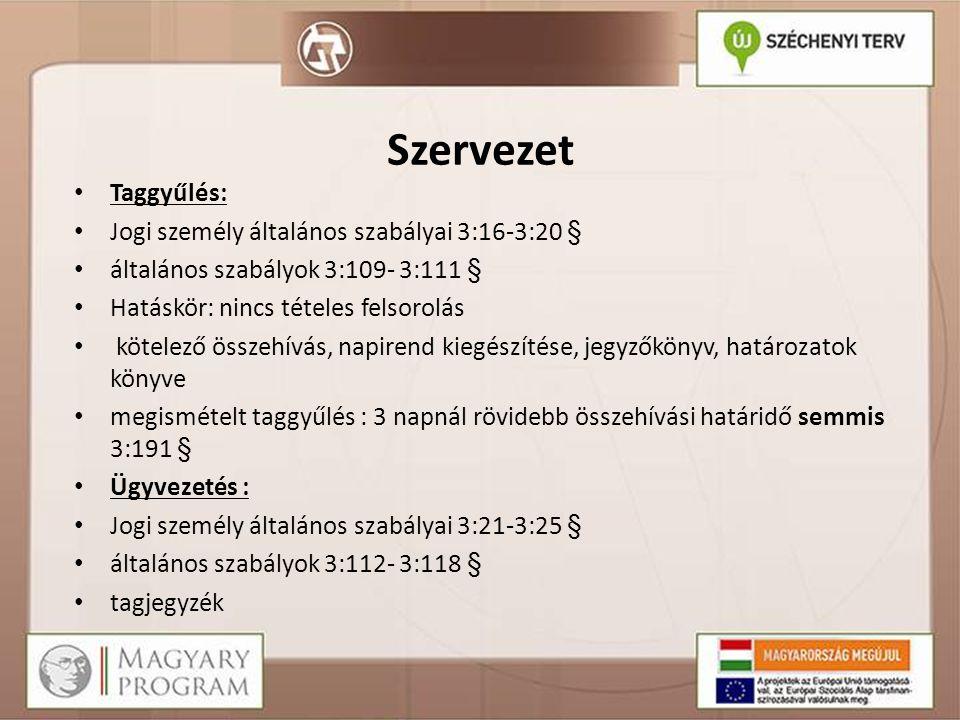 Szervezet Taggyűlés: Jogi személy általános szabályai 3:16-3:20 §