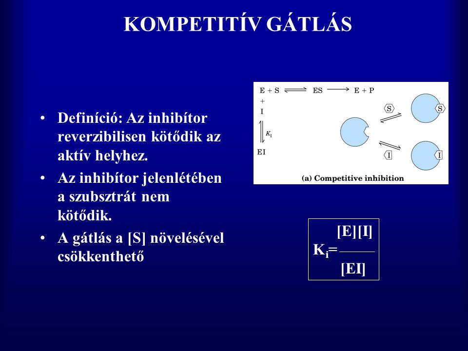 KOMPETITÍV GÁTLÁS Definíció: Az inhibítor reverzibilisen kötődik az aktív helyhez. Az inhibítor jelenlétében a szubsztrát nem kötődik.